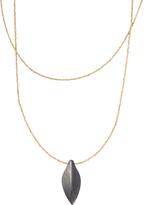 Onyx Ankole Horn & Silvertone Leaf Beaded Pendant Necklace