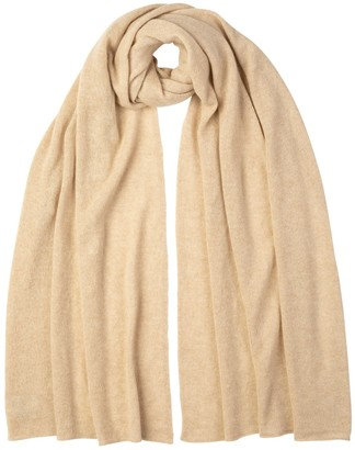 Johnstons of Elgin Knitted Gauzy Cashmere Stole Natural