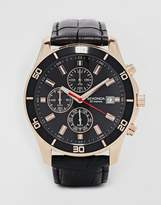 Sekonda Chronograph Mock Croc Leather Strap Watch
