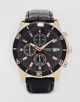 Sekonda Chronograph Mock Croc Leather Strap Watch