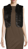 Badgley Mischka Faux-Fur Lace-Back Cropped Vest, Black