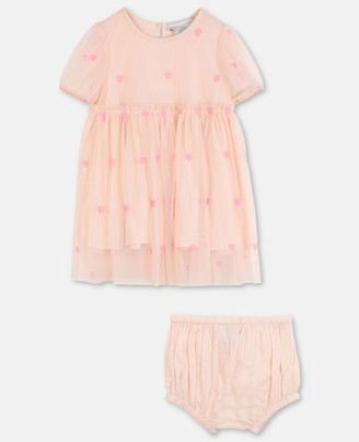 Stella Mccartney Kids Hearts Embroidery Tulle Dress, Unisex