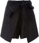 MSGM wrap effect shorts - women - Cotton/Linen/Flax - 40