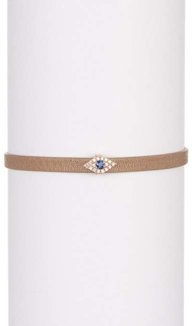 Ef Collection 14K White Gold Pave Diamond Evil Eye Station Leather Bracelet - 0.07 ctw