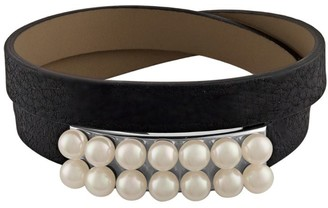 Majorica New Isla 6MM White Pearl & Leather Bracelet