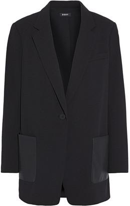 DKNY Faux Leather-paneled Stretch-crepe Blazer