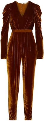 Ulla Johnson Sabine Ruffled Grosgrain-trimmed Velvet Jumpsuit