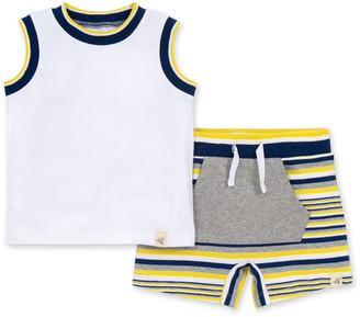 Burt's Bees Tipped Rib Organic Baby Tank Top & French Terry Stripe Shorts Set