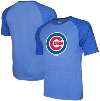 Stitches Men's Heathered Royal Chicago Cubs Team Logo Raglan T-Shirt