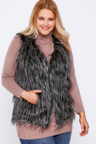 Yours Clothing Black Faux Fur Gilet With Tipping Detail