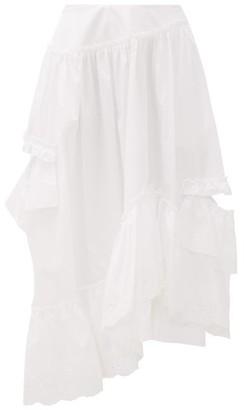 Simone Rocha Asymmetric Ruffled Cotton Midi Skirt - Womens - White