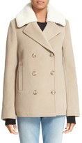 Alexander Wang Double Breasted Wool & Cashmere Peacoat with Genuine Shearling Collar
