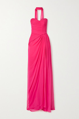 Monique Lhuillier Strapless Draped Silk-chiffon Gown - Fuchsia