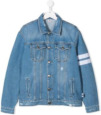 Gcds Kids Stripe Detail Distressed Denim Jacket