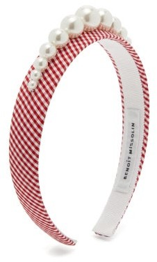 Benoit Missolin Stella Faux Pearl-embellished Gingham Headband - Red Print
