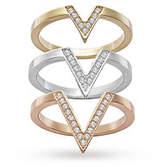Swarovski Jewellery Ladies' Two-tone Steel/gold Plate Size Q Delta Rings 58