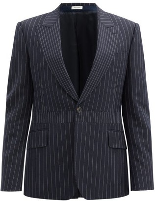 Alexander McQueen Pinstriped Single-breasted Wool Jacket - Navy White