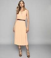 Reiss Mariona - Pleated Midi Dress in Nude