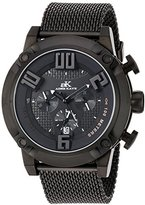 Adee Kaye Men's Quartz Stainless Steel Dress Watch, Color:Black (Model: AK07280-MIP/BK/IPB-MESH)