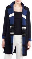 Akris Open-Front Reversible Striped Cashmere Knit Coat