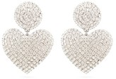 Alessandra Rich Crystal-heart Drop Clip Earrings - Womens - Crystal