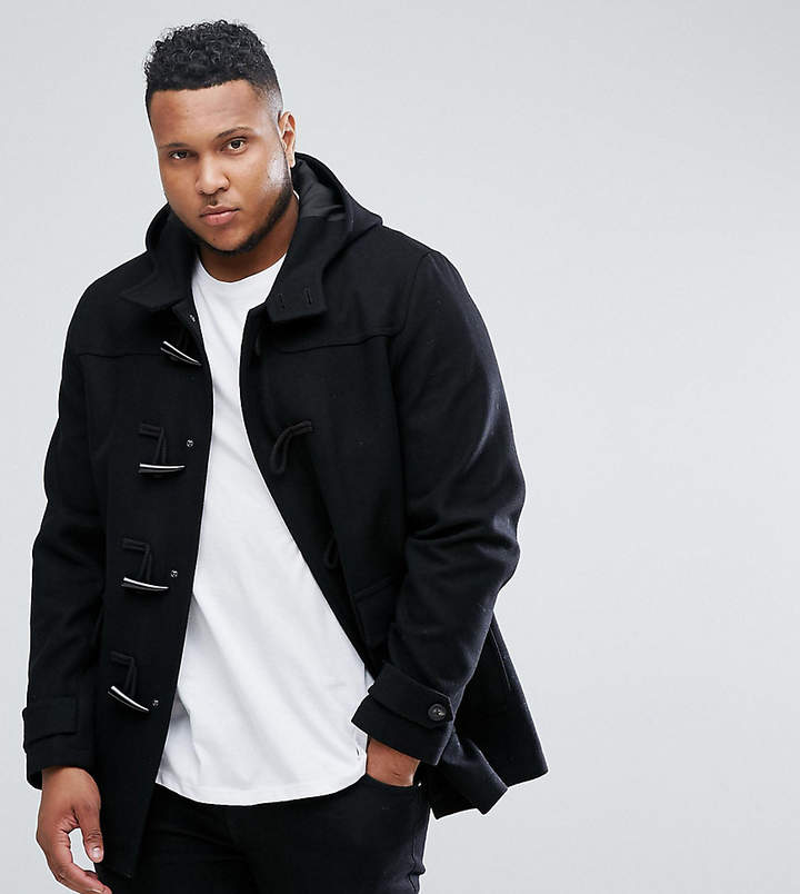 Asos Plus Wool Mix Duffle Coat In Black