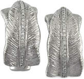 Effy Diamond Brushed Hoop Earrings in Sterling Silver (1/4 ct. t.w.)