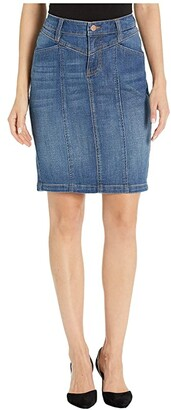 Liverpool Front Yoke Tapered Skirt in Vintage Denim in Holly (Holly) Women's Skirt