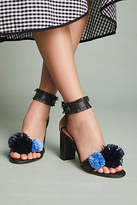 Anthropologie All Black Raffia Pommed Heels