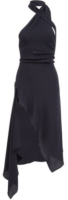 Ludovic de Saint Sernin Halterneck Crystal-embellished Silk Dress - Navy