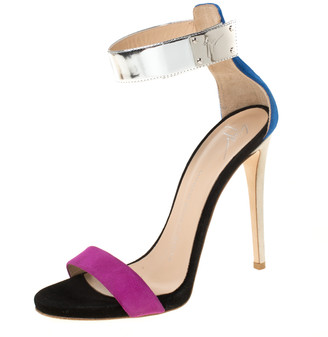 Giuseppe Zanotti Tricolor Suede And Leather Ankle Cuff Sandals Size 37.5