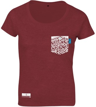 Fire Brick Red Digit Print Organic Cotton T-Shirt
