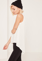 Missguided White Crepe Curve Hem Tunic