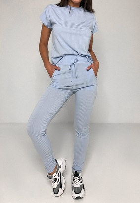 Missguided Blue Rib T Shirt And Joggers Co Ord Set