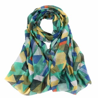 Musheng Scarf Women Long Print Scarf Ladies Chiffon Long Cute Colored Sunscreen Print Scarf Wraps Shawl Soft Scarves (Green)
