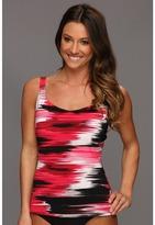 Speedo Brushed Stripe Comfort Strap Tankini (Zinnia) - Apparel
