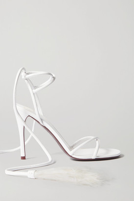Valentino Garavani Upflair 100 Feather-trimmed Leather Sandals - White