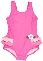 Florence Eiseman Ruffle-Trim Colorblock One-Piece Swimsuit, Pink, Size 2T-6X