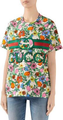 Gucci Pop Flora Print Logo T-shirt
