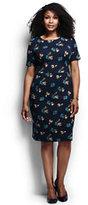 Classic Women's Plus Size Short Sleeve Ponté Sheath Dress-Patriot Blue Floral