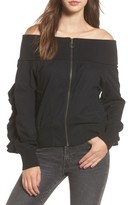 BP Women's Ruffle Off The Shoulder Bomber