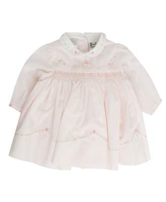 Sarah Louise Floral Embellished Collar Dress Colour: Pink And White, S