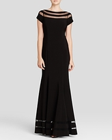 JS Collections Gown - Boat Neck Cap Sleeve
