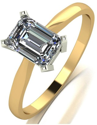 Moissanite 9ct Yellow Gold 1.20ct Equivalent Emerald Cut Solitaire Ring