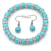 Amy And Annette Amy and Annette Women's Bracelets - Teal & Crystal Beaded Stretch Bracelet & Drop Earrings
