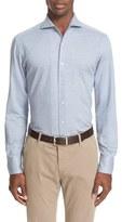 Canali Men's Trim Fit Micro Print Jersey Knit Sport Shirt