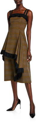 ADEAM Plaid Asymmetric Ruffled Dress