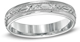 Zales Ladies' 4.0mm Diamond-Cut Comfort Fit Wedding Band in Sterling Silver