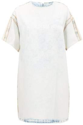 MM6 MAISON MARGIELA Logo-print Bleached Denim Dress - Womens - Light Blue