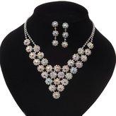 Avalaya Bridal AB/Clear Swarovski Crystal Bib Necklace & Drop Earrings Set In Silver Plating